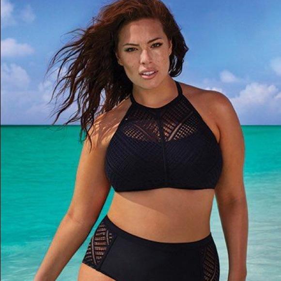 Swimsuits For All Other - Ashley Graham Charlatan Crochet High Neck Bikini